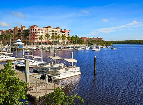 blue intracoastal water with pontoon boats