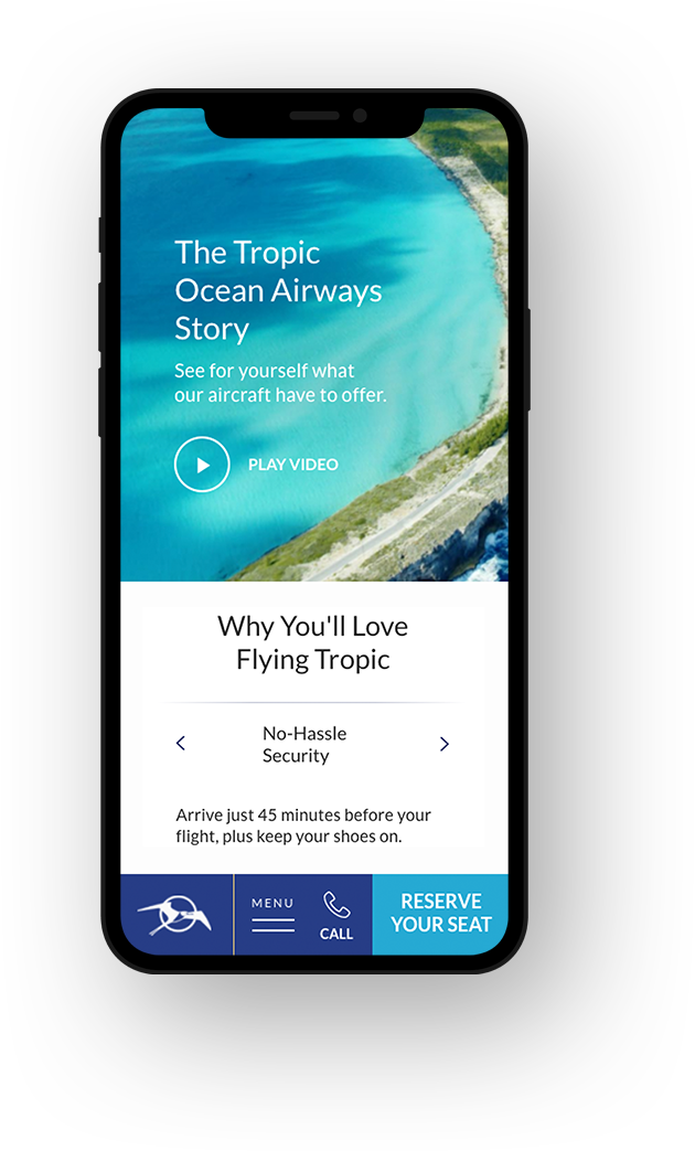 Tropic Ocean<br/>Airways Phone view