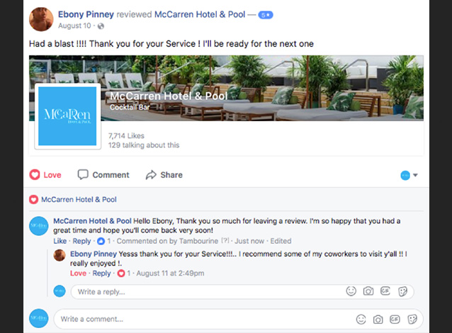 Screenshots of McCaren Hotel Facebook page