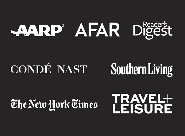 Magazine logos on a black background