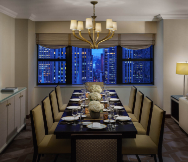 Lotte New York Palace Deluxe Corner Suite King Dining Room