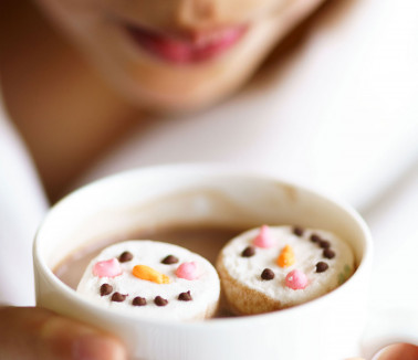 Hot chocolate with snowmen marshmallows