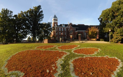clemson tiger paw print painted on a field infront of Clemson University