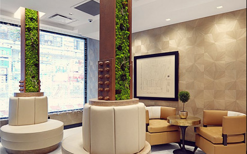 hotel lobby with plants and greenery