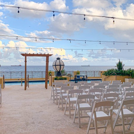 wedding altar with view of ocean