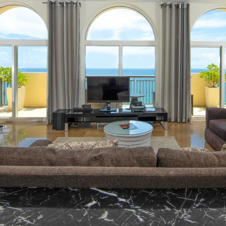 living room looking out to the ocean