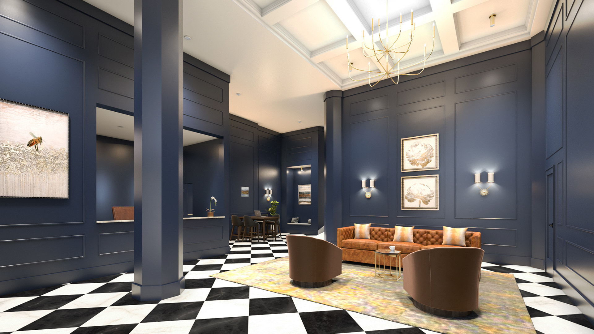 hotel lobby with checkered floor and navy walls