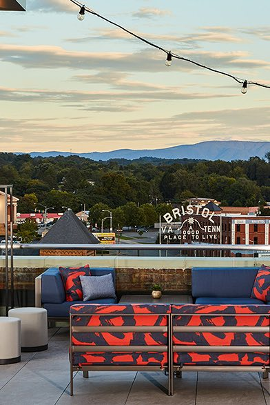 Bristol rooftop bar with mountain views