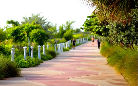 people jogging on boardwalk