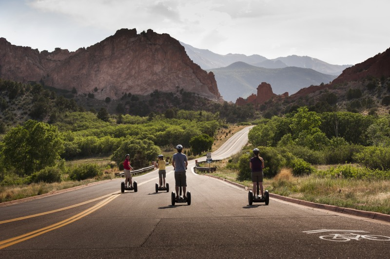 Group of people on Segway tour through Pikes Peak