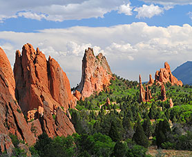 View of the orange rock formations in the daytime at the garden of the gods
