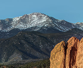 view of pikes peak with snow in the daytime
