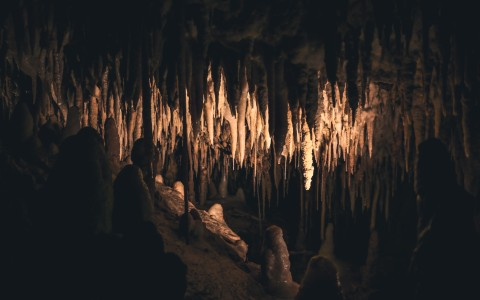Interior of cave with illuminated stalactites