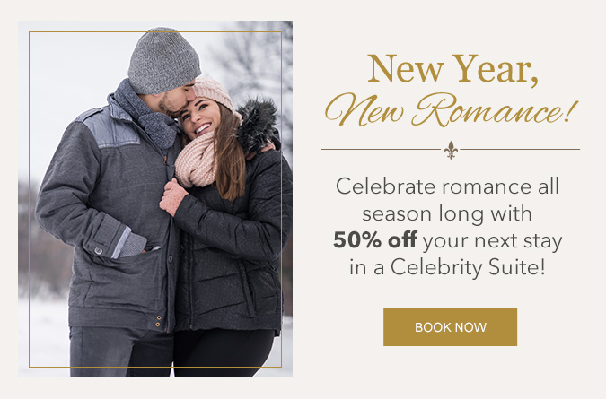 Couple in the snow with text saying new year new romance on the right