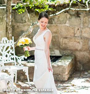 bride in courtyard