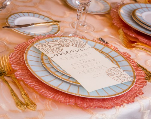 wedding menu on place setting