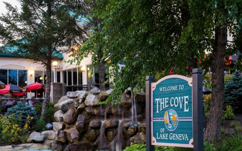 the sign outside of the cove of lake geneva