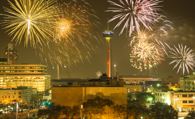 Fireworks over San Antonio Skyline