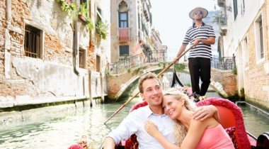 couple in gondola boat