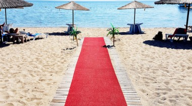 red carpet on the beach