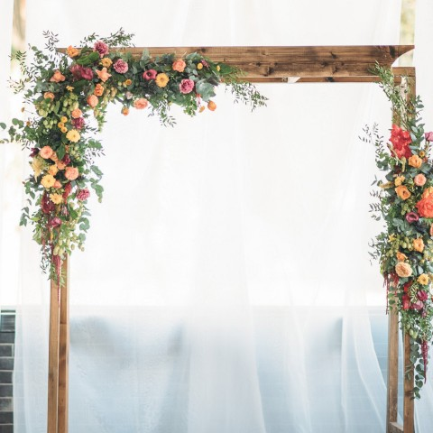 details of wedding altar with flowers