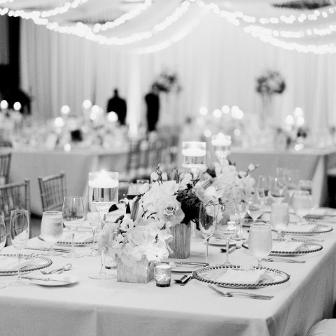 black and white image of wedding reception tables