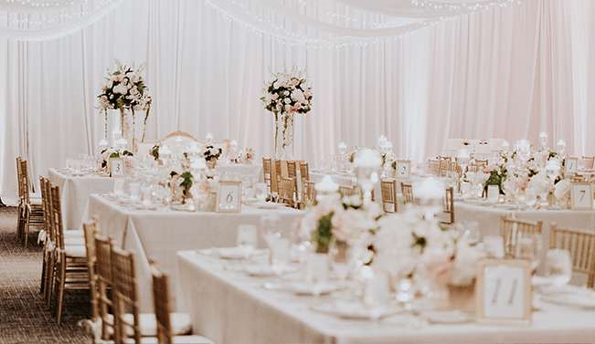 reception room with white cloths