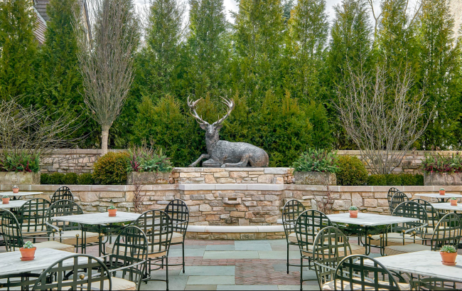Deer statue outside of dining area