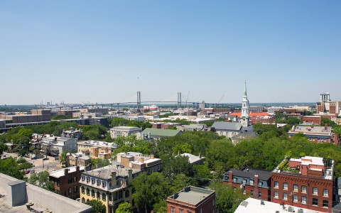 aerial view of downtown savannah