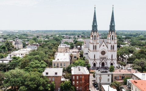 aerial view of historic church in savannah