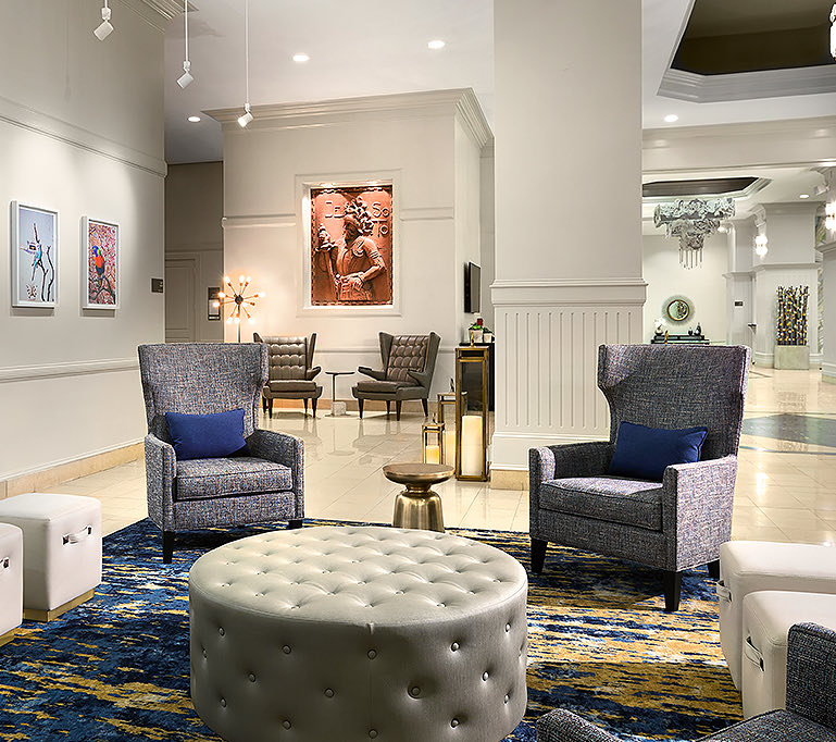 lobby lounge area with chairs and couches