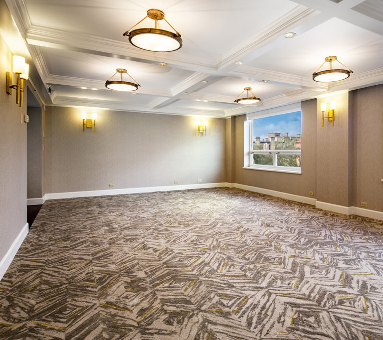 meeting space with carpeted floor
