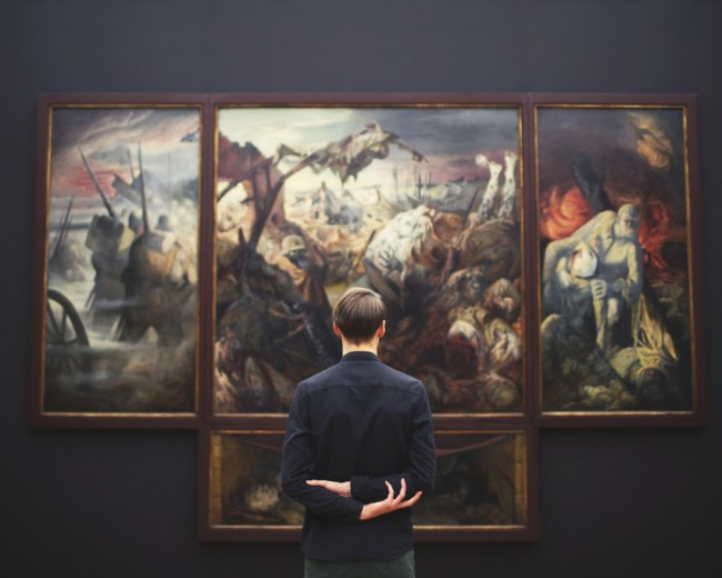 man in art museum
