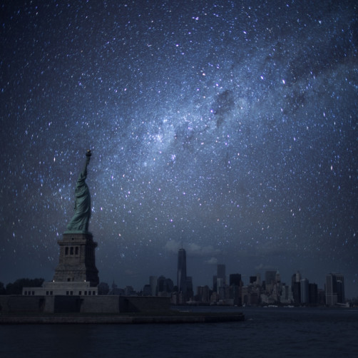 statue of liberty against starry sky 1