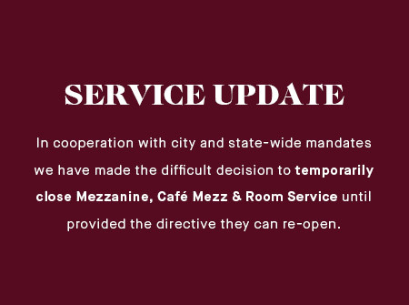 In cooperation with city and syaye-wide mandates we have temporarily closed all food service