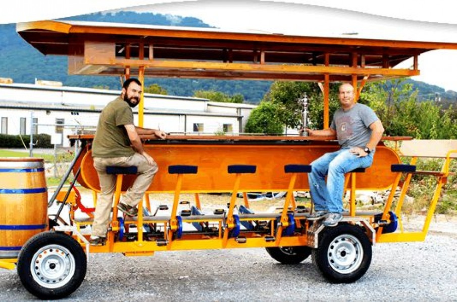 Chattanooga Brew Choo a table on wheels and peddles for guests to drive it