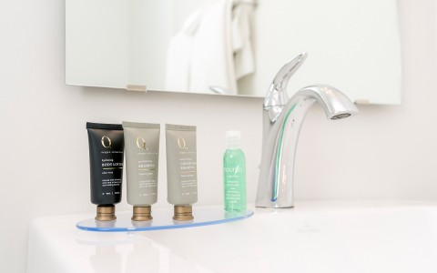 closeup of small bathroom toiletries