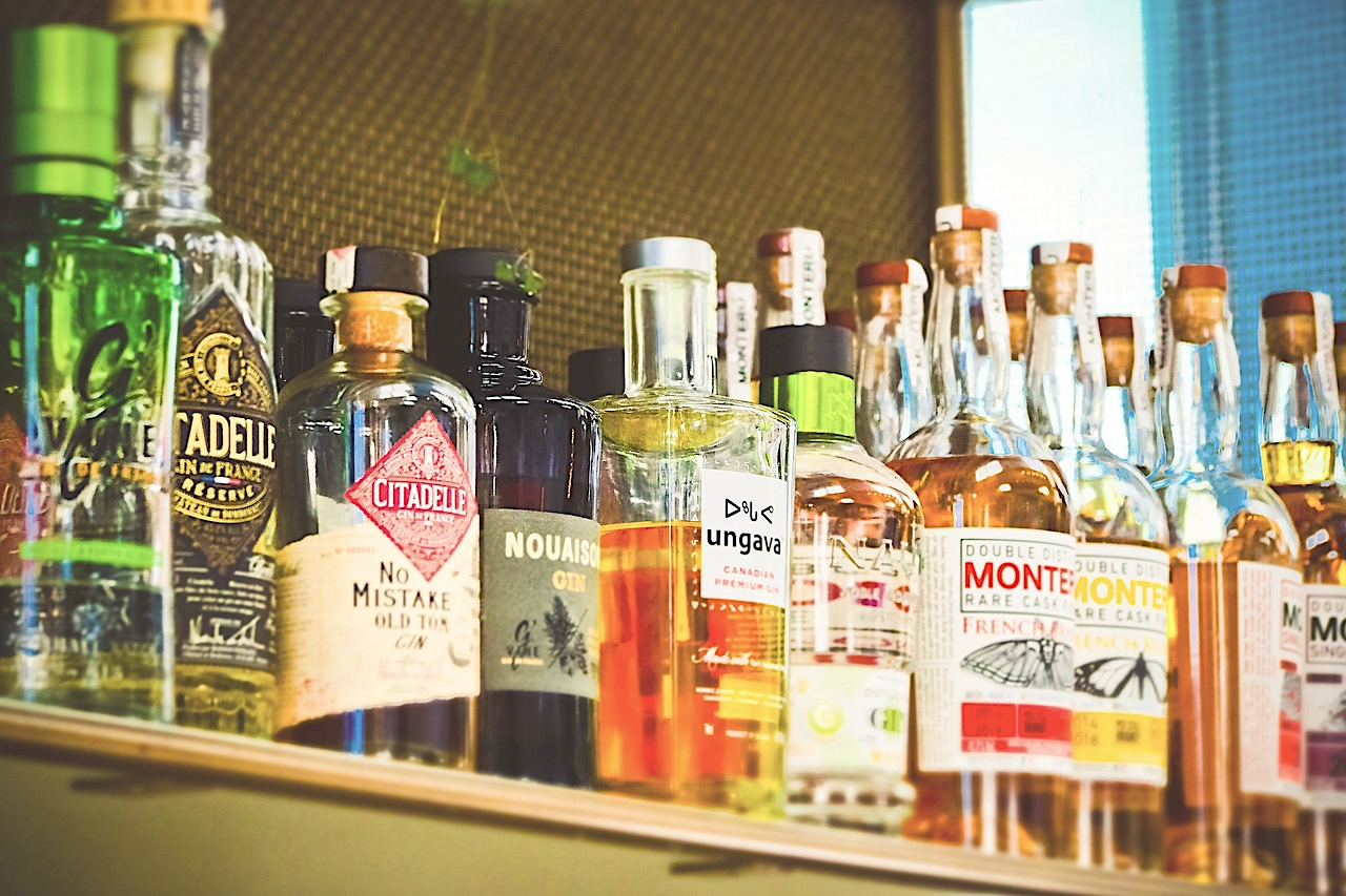Assortment of bottled liquors