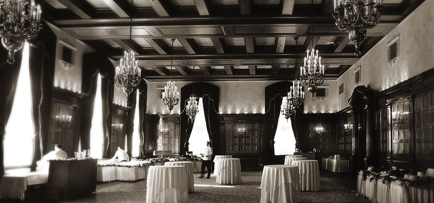 black and white photo of grand ballroom