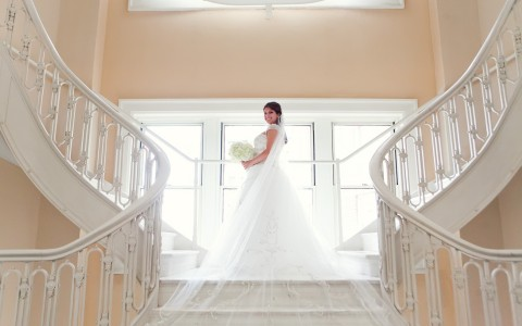 Georgian Terrace Wedding bride on staircase