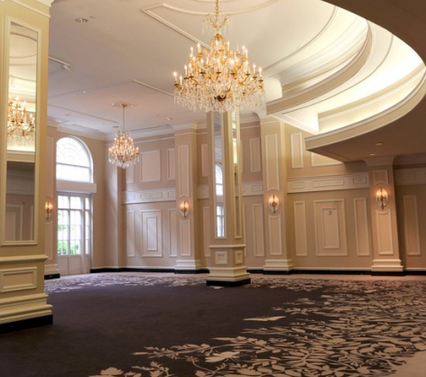 Piedmont ballroom with high ceilings large chandeliers floor to ceiling windows