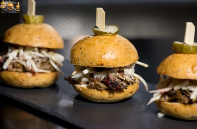 duck confit sliders cranberry jam fennel and celery root slaw thyme onion and black pepper brioche angry cukes 1