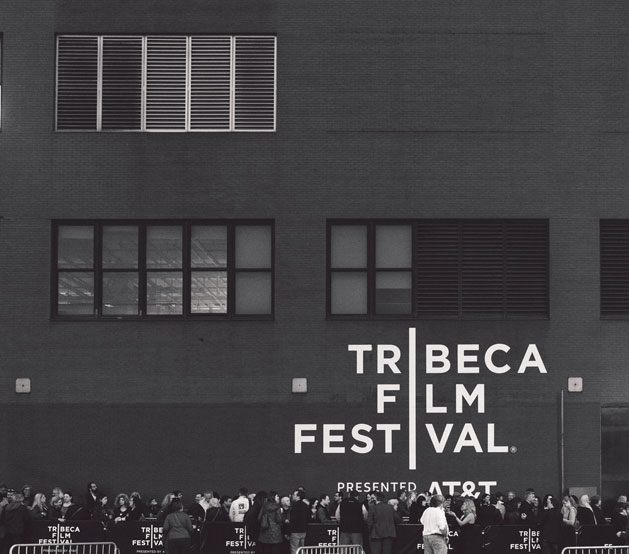 Black building with Tribeca Film Festival written on the side