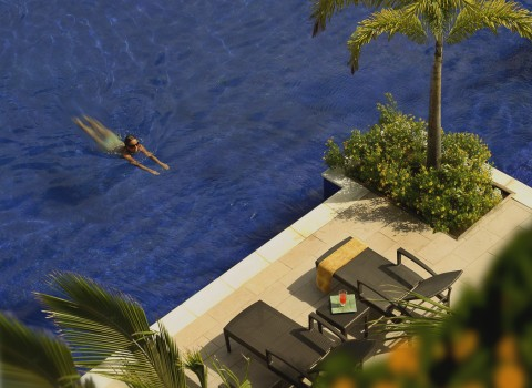 aerial view of someone swimming in the pool