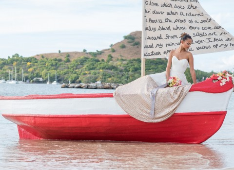 bride in red and white boat