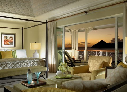 King bedroom suite with view of the sunset