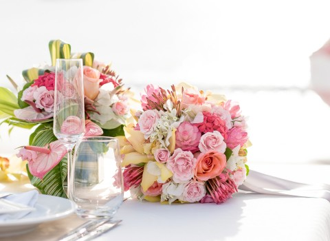 colorful pinks and whites bouquet of flowers