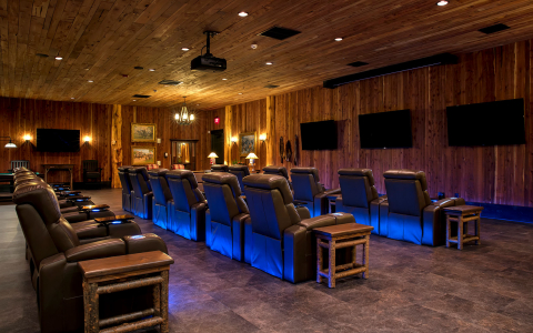 movie screening room with various seats and screens