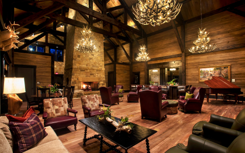 lobby with multiple seating areas and wooden accents