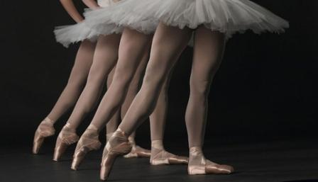 Ballet Dancers Shown From Waist Down in Tutus and En Pointe